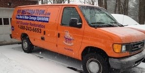Water Damage Burtonsville Van At Winter Residential Job Site